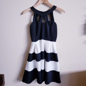 Black & White Striped Sweetheart Mesh Mini Dress